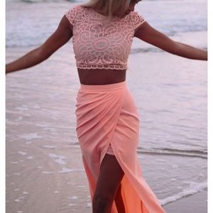 NWT Sabo Skirt Formal Two Piece coral XS